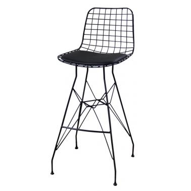 Метален бар стол мрежа с възглавница черен (T2)- Horecano