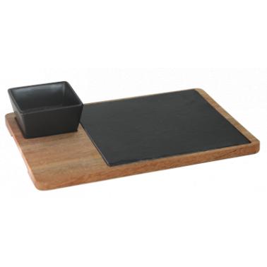 Сет за сервиране с каменна плоча 30х22см (плоча 20х20см+керамична чинийка 9х9см ) HORECANO-(1290SJ4960)