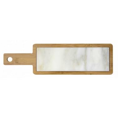 Бамбукова дъска  с мраморна плоча  за сервиране 45х13х1.5см (мрамор 30х10х1см) HORECANO- (1270SJ4508)