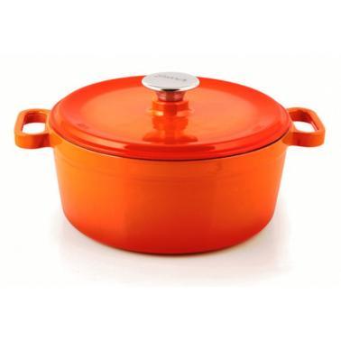 Чугунена тенджера 24см 4л  оранжева  SILVER-(1124)