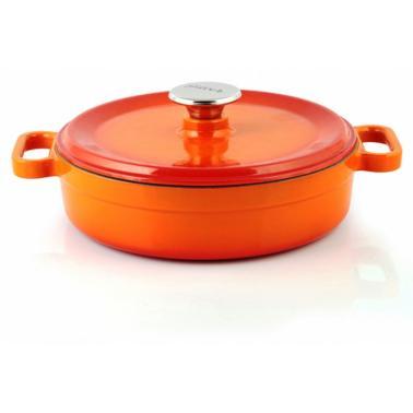 Чугунена тенджера плитка 24см 2.5л оранжева  SILVER-(1424)