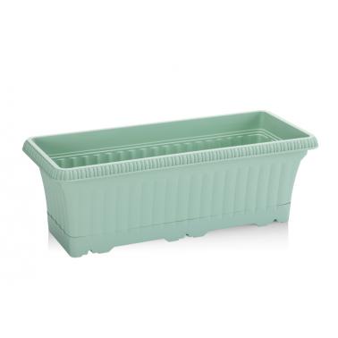 Пластмасова саксия за балкон 43x17xh14,5см5,7л зелена SERINOVA-(OB02)