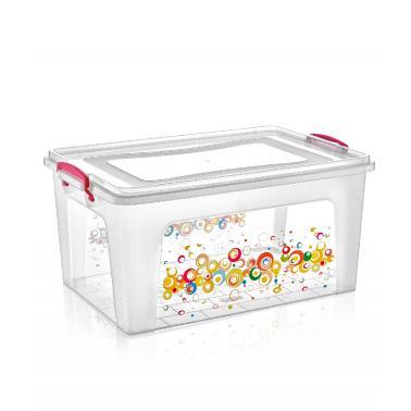Пластмасова кутия контейнер дълбока с декор 27л 47,5x32xh23,5см DUNYA-(30266)
