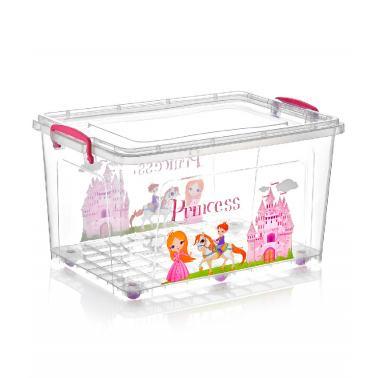 Пластмасова кутия контейнер дълбока с декор и колела 80л 68,3x47,5xh35,5см DUNYA-(30268)
