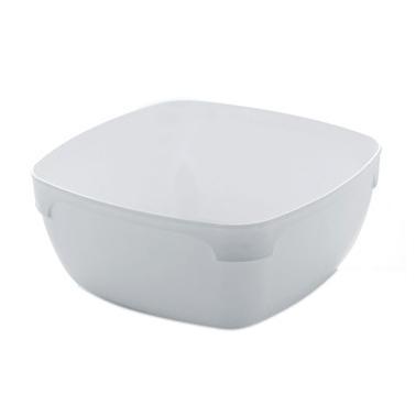 Поликарбонатна купичка квадратна без капак бяла 11x11xh4.8см   300мл (SB.D11W)  - Rubikap
