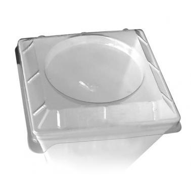 Капак за квадратна купичка за еднократна употреба прозрачен 7,3x7,3см (MC.24) PS  (LD.24)  - Rubikap