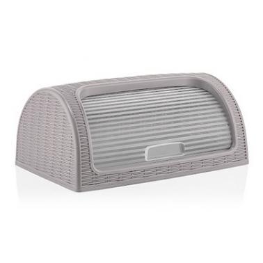 Кутия за хляб 41,4x26,9xh18,1см сива - PVC РАТАН DUNYA-  (05330)