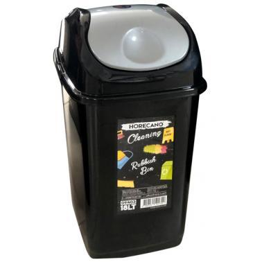 Пластмасов кош с люлеещ капак 18л черен със сив капак HORECANO-(09403)