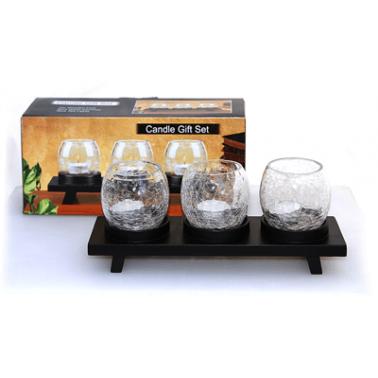Свещник с  3 стъкленици на   дървена основа (38096) - Horecano