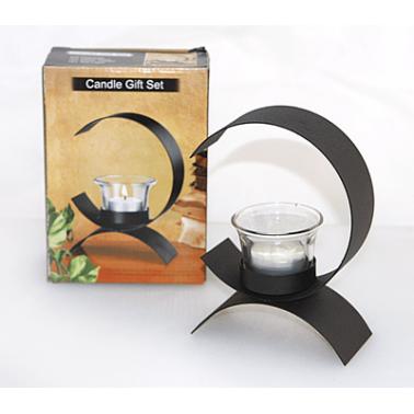 Свещник със стъкленица и  свещ на  метална основа (38150) - Horecano