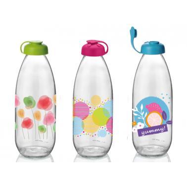 Стъклена бутилка за мляко с декор 1л M-151906/151944-(M)- Horecano