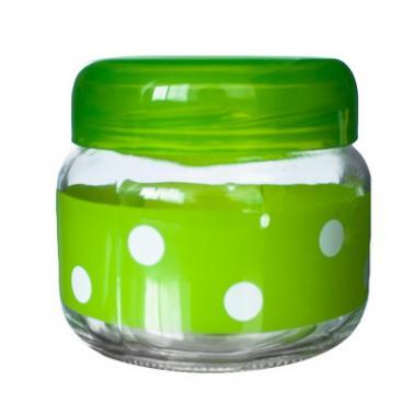 Стъклен буркан  с пластвасова капачка зелен  425мл  (Е) M-131751/131967 - Horecano