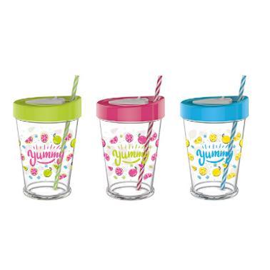 Стъклена чаша за смути с декор 450мл RIOM-141086- Horecano