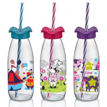 Стъклена бутилкадетска със сламка 500мл M-151954- Horecano
