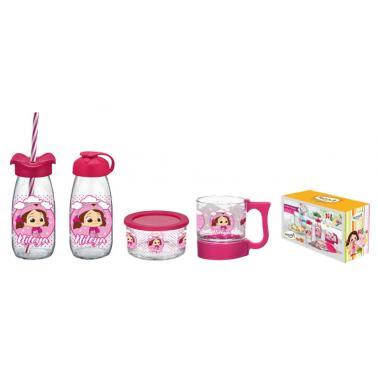 Детски стъклен комплект от 4 частив два различни цвята(розов/син) M-152905 - Horecano