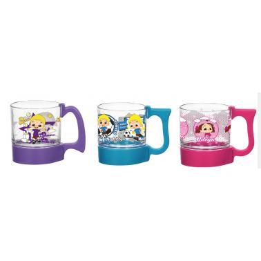 Детска чаша стъкло/пластмаса с декор 280мл в различни цветове M-141072 - Horecano