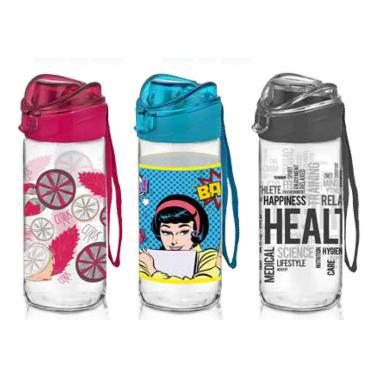 Стъклена бутилказа вода 500мл LUYA с различни декори M-151930 - Horecano