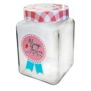 Стъклен буркан квадратен CANDY 1,5лс три различни декораM-331069 - Horecano