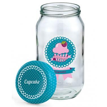 Стъклен буркан с декор   син 1л CUPCAKE   M-131024 - Horecano