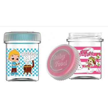 Стъклен буркан за детска храна с декор