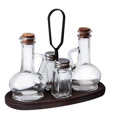 Стъклен оливерник на дървена стойка ТОСКАНА кафяв  M-512295  - Horecano