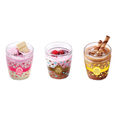 Комплект от 3 декорирани стъклени  чаши за пудинг