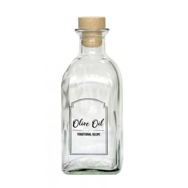 Стъклена бутилка за олио/зехтин с коркова тапа, прозрачна, 250мл MIRA, M-151406 - Horecano