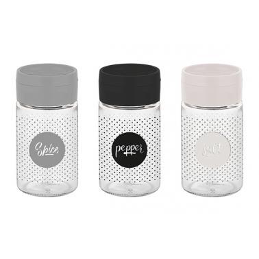 Стъклена солница  с декор и пластмасово капаче  DORIAN 120мл M-121242 - Horecano