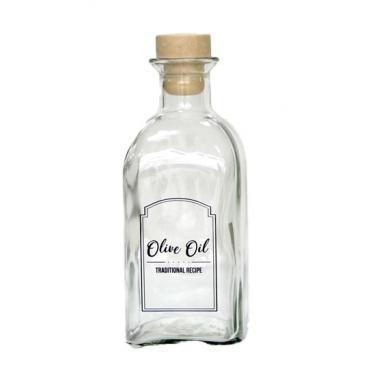 Стъклена бутилка  за олио/зехтин с коркова тапа