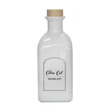 Стъклена бутилка за олио/зехтин с коркова тапа, бяла, 250мл MIRA, M-151406-WSO - Horecano