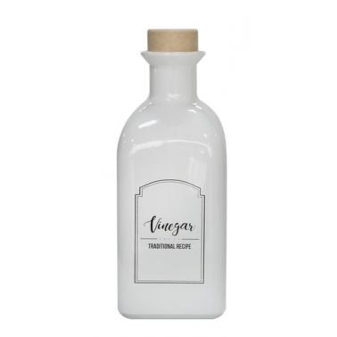 Стъклена бутилка за оцет с коркова тапа, бяла, 250мл MIRA, M-151406-WSV - Horecano