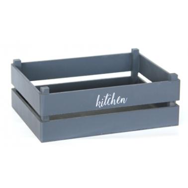 Дървена касетка за сервиране сива 18,7x13,7xh7,6 см, M-4WD007 - Horecano