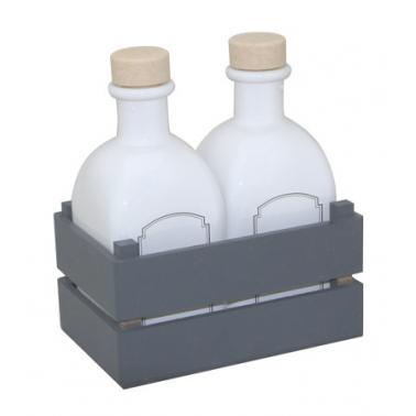 Комплект за зехтин / оцет 3 части сив (бутилки 250мл+постaвка) (HRC54329)- Horecano