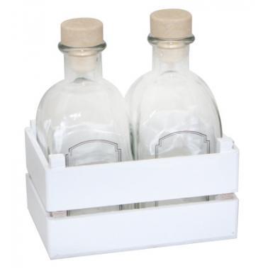 Комплект за зехтин / оцет 3 части бял (бутилки 250мл + постaвка) (HRC54330)- Horecano