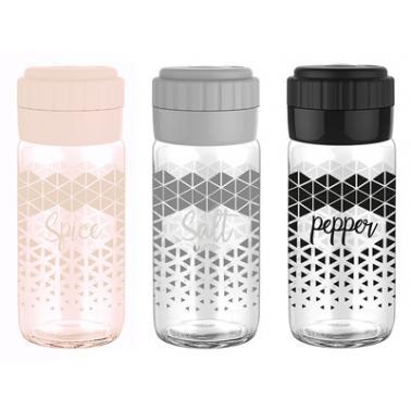 Стъклена солница с декор и пластмасово капаче 244см M-131032-HIBRIT - Horecano