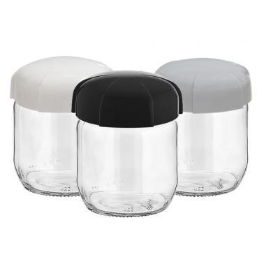 Стъклен буркан без декор 425см RHEA(ЧЕРЕН,БЯЛ илиСИВ капак) M-131313- Horecano