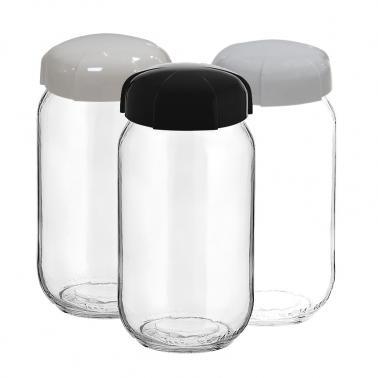 Стъклен бурканбез декор 1лRHEA(ЧЕРЕН,БЯЛ илиСИВ капак) M-131315- Horecano