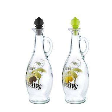 Стъклена бутилка за зехтин с различни декори 250мл