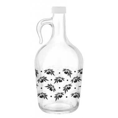 Стъклена бутилка с дръжка и тапа 3л