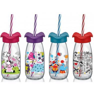 Стъклена бутилкадетска със сламка 250млM-151966- Horecano