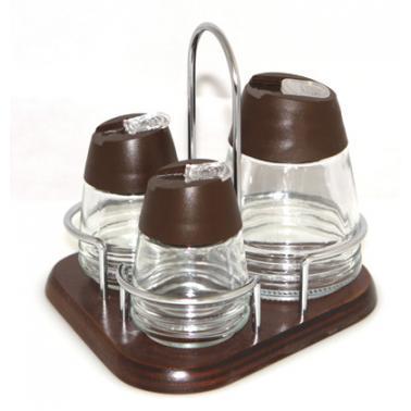Стъклени солнички 3-ка на дървена стойка кафеви  M-532034-(STOCK) - Horecano