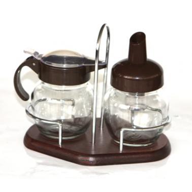 Стъклена захарница и каничка на дървена  стойка комплект  M-552052(STOCK) - Horecano