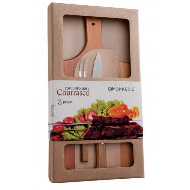Комплект за барбекю от 3 части (вилица двурога + нож 20см + дървена дъска) SIMONAGGIO-CHURRASCO-(CH550/3)