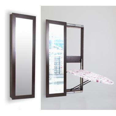 Огледален шкаф с дъска за гладене (шкаф: 150 х 50 х 10см , дъска: 120х40см)венге PERILLA-(14023)