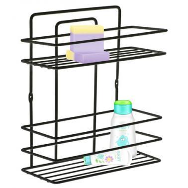 Метална етажерка за баня на 2 етажачернаPERILLA-(71310)