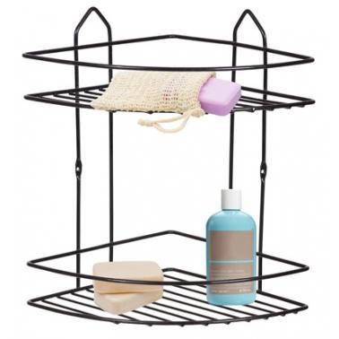Метална етажерка за баня на 2 етажа ъгъл чернаPERILLA-(71306)