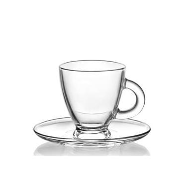 Комплект  стъклена чаша за дълго кафе  / топли напитки с чинийка 155мл 6бр. ROMA S3 - Lav