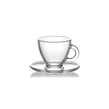Комплект стъклена чаша за чай  / топли напитки с чинийка 225мл  6бр. ROMA S5 - Lav