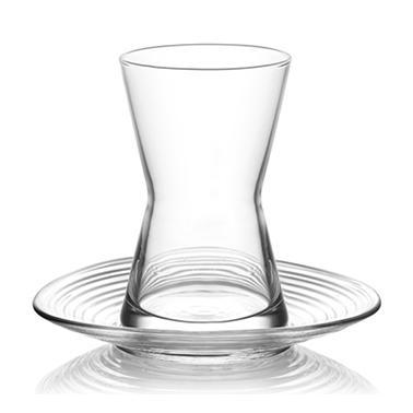 Стъклен сервиз за турски чай от 6 бр. чашка с чинийка  LAV -DRN S2