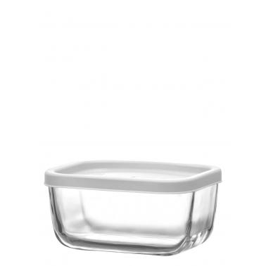 Стъклена кутия с бял капак 405млCUB 235- Lav